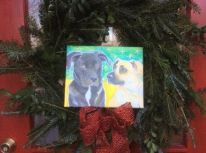 Brody and Curtis in wreath